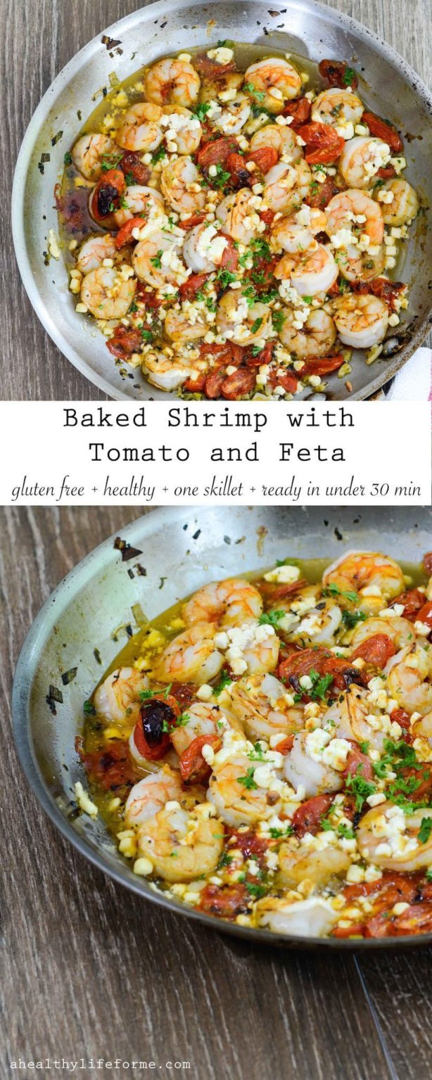 Baked Shrimp with Tomato and Feta is an easy, delicious, gluten free and healthy dinner that is made in one skillet and ready in less than 30 minutes | ahealthylifeforme.com