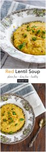 Red Lentil Soup is a healthy hearty powerhouse soup recipe that is dense and spicy. Loaded with fiber, protein, folate, and iron.