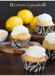 Lemon cupcakes made with lemon curd, and whipped cream