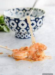 Barbeuce Grilled Shrimp with Blue Cheese Dip is a spicy, savory, recipe ready in under 15 minutes   ahealthylifeforme.com