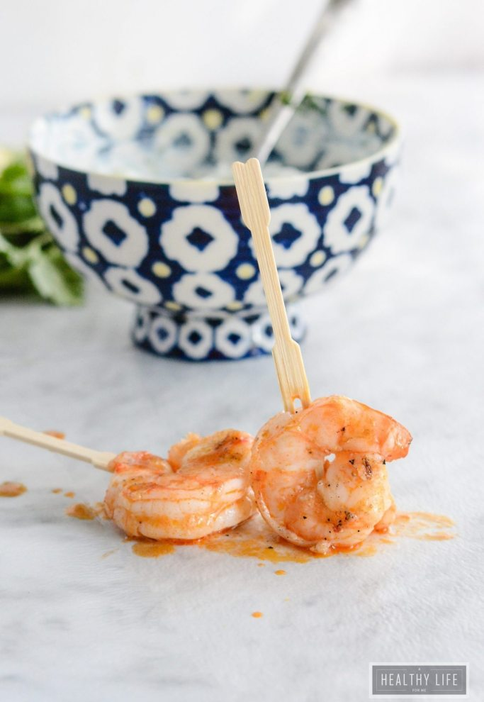 Buffalo Grilled Shrimp with Blue Cheese Dip is a spicy, savory, recipe ready in under 15 minutes   ahealthylifeforme.com