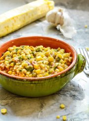 Spicy Corn Succotash is a wonderful use of organic summer corn. Best served with salad or great with a pork chop or steak.