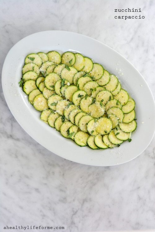 Zucchini Carpacchio a simple, elegant and delicious way to enjoy summer zucchini.   ahealthylifeforme.com