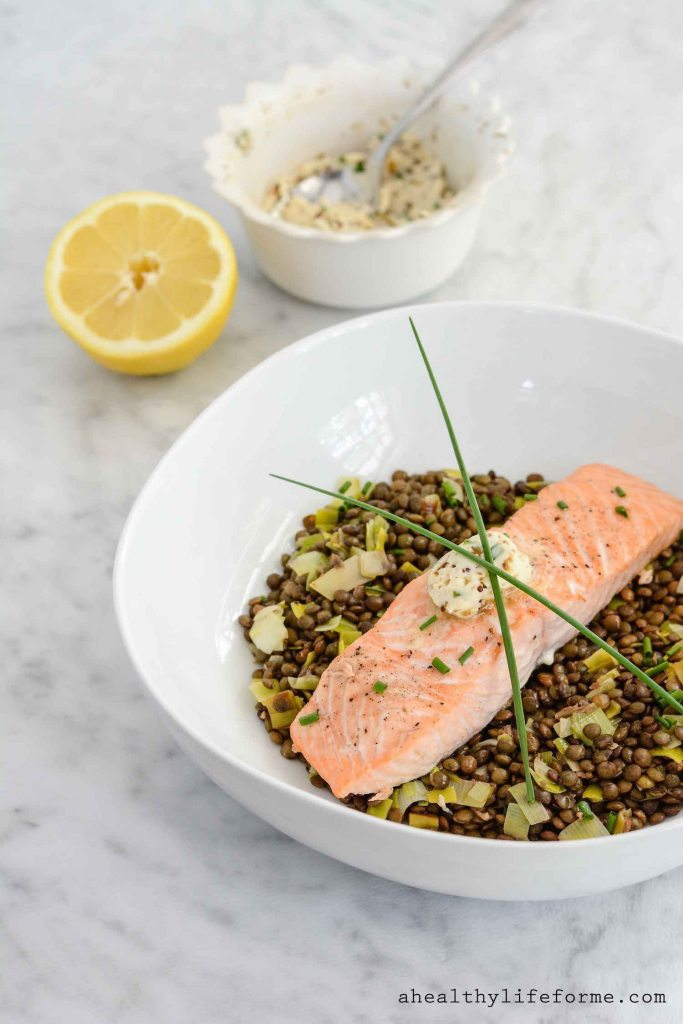 Salmon and Lentils with Herb Mustard Butter Recipe is healthy easy and ready in under 30 minutes | ahealthylifeforme.com