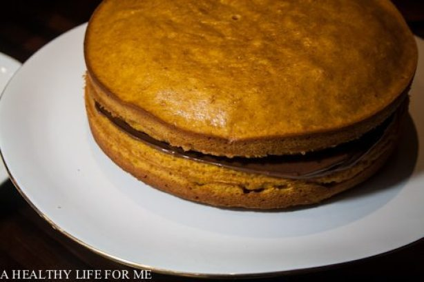 Pumpkin Cake with Dark Chocolate Buttercream Frosting Recipe | ahealthylifeforme.com