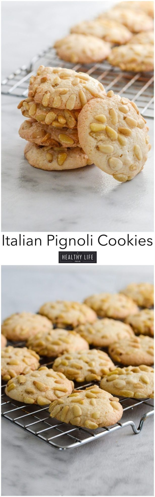 Italian Pignoli Cookie is an italian Sicilian classic cookie recipe that is similar to a macaroon crispy chewy and almondy cookie. Sure to become a family favorite if it isn't already | ahealthylifeforme.com