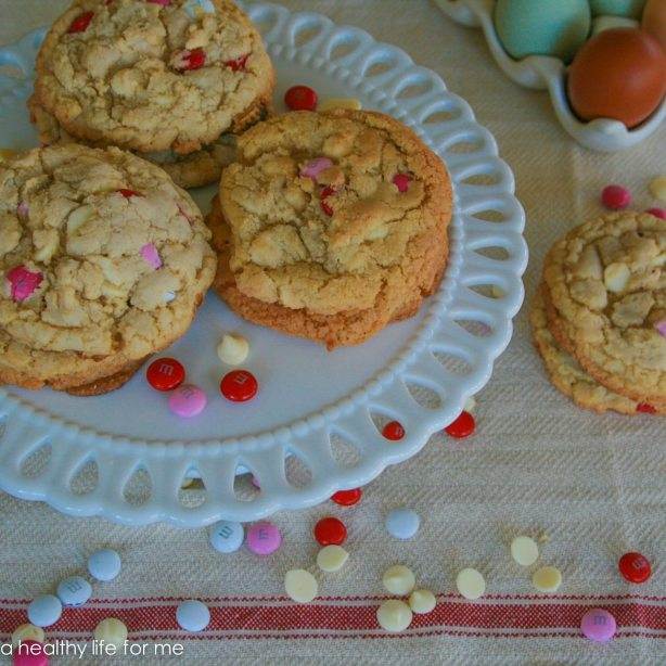 White Chocolate and M&M Cookies for Valentine's Day