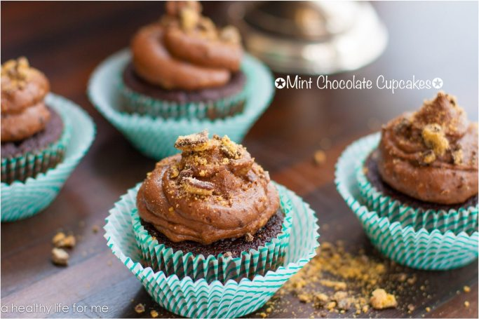 Mint Chocolate Cupcakes Recipe made with girl scout cookies   ahealthylifeforme.com