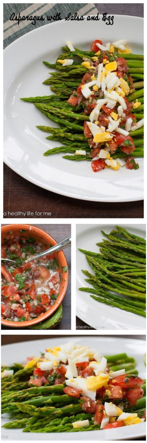 Steamed Asparagus Salad topped with homemade salsa and hard boiled egg is gluten free, grain free and dairy free recipe | ahealthylifeforme.com