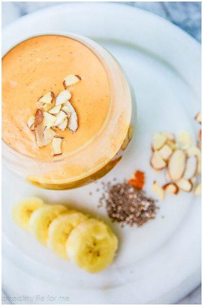 Pumpkin Banana Vanilla Smoothie Gluten Free Paleo Healthy Recipe   ahealthylifeforme.com