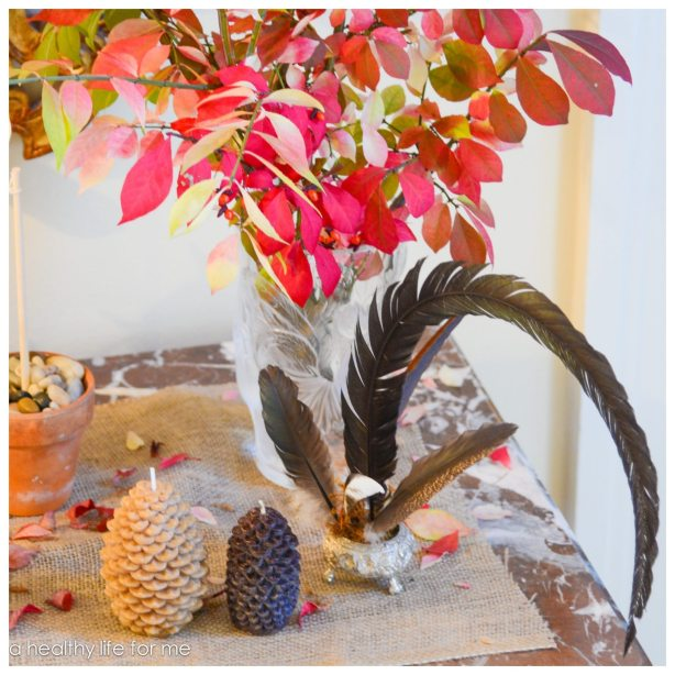Decorating Foyer Table for Thanksgiving using Banner and Natural Elements