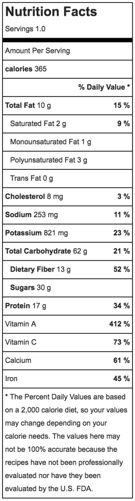 pumpkin banana vanilla smoothie nutritional information