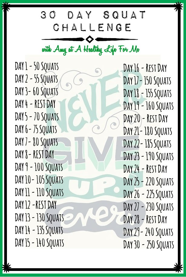 30 Day Squat Challenge A Healthy Life For Me