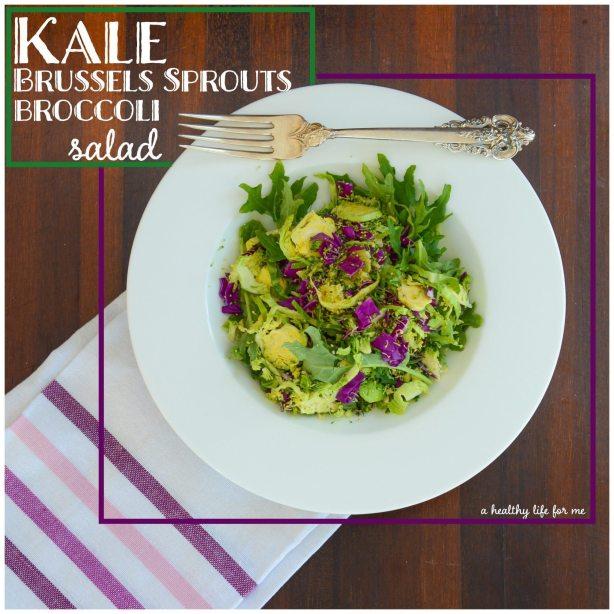 Kale Brussels sprout Broccoli Salad | ahealthylifeforme.com