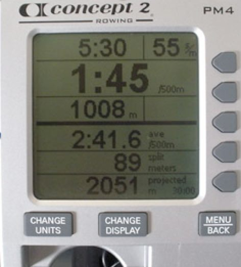 Erg machine screen | 52 Tips for Health and Fitness Success #12; Rowing Workout