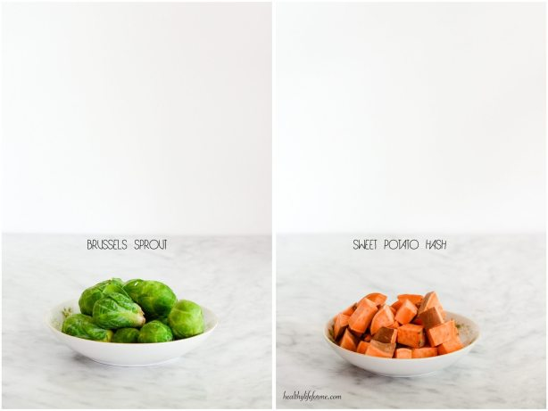Brussels Sprouts and Cubed Sweet Potato | Brussels Sprout Sweet Potato Hash Recipe | ahealthylifeforme.com