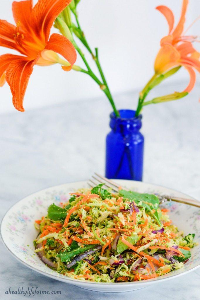Raw Broccoli Slaw Recipe | ahealthylifeforme.com