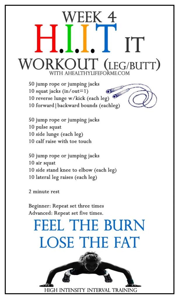 All Over HIIT It workout week 4 LEG BUTT | ahealthylifeforme.com