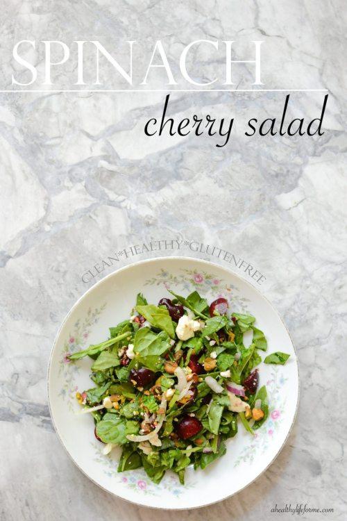 Spinach Cherry Salad Healthy Gluten Free Recipe | ahealthylifeforme.com