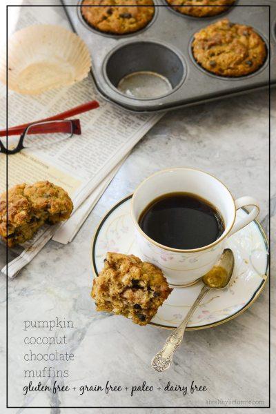 Gluten Free Pumpkin Coconut Chocolate Muffins Paleo Recipe | ahealthylifeforme..com
