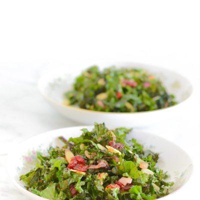 Kale Salad with Cherry Almond Vinaigrette