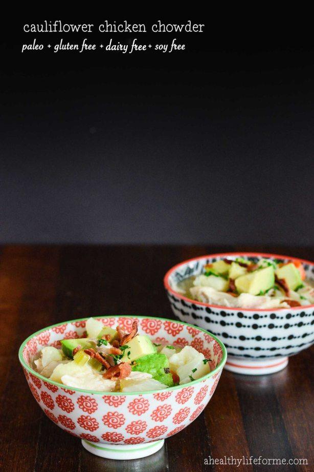 paleo gluten free cauliflower chicken chowder recipe | ahealthylifeforme