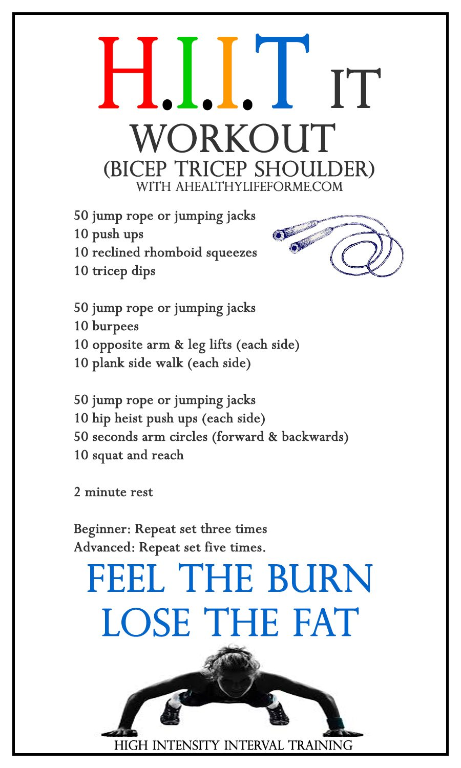 HIIT Workout Routine Bicep Tricep Shoulder