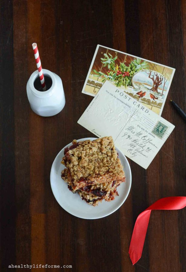 Cranberry Orange Holiday Bars Recipe are gluten free with gooey sweet tart flavor | ahealthylifeforme.com