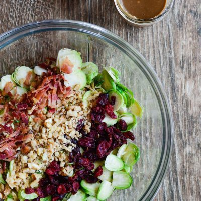 Brussels Sprouts Cranberry Salad with Greek Yogurt Vinaigrette