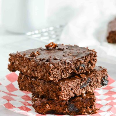 Double Chocolate Coconut Protein Brownies