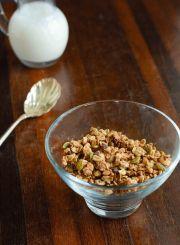 Homemade Gluten Free Vegan Cocoa-Hazelnut Granola with Pumpkin Seeds and Figs