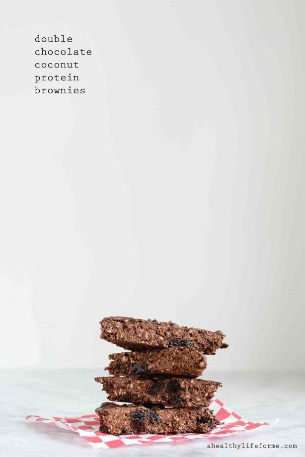 Double Chocolate Coconut Protein Brownies Recipe | ahealthylifeforme.com