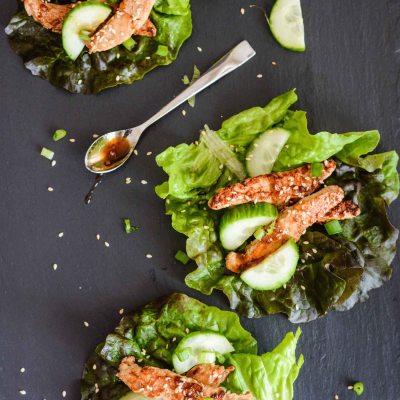 Teriyaki Chick'n Strip Lettuce Wraps