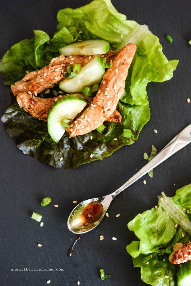 Teriyaki Chick'n Strip Lettuce Wrap recipe is gluten free vegan healthy clean delicious recipe | ahealthylifeforme.com