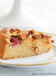 Gluten Free Raspberry Almond Breakfast Cake Recipe | ahealthylifeforme.com