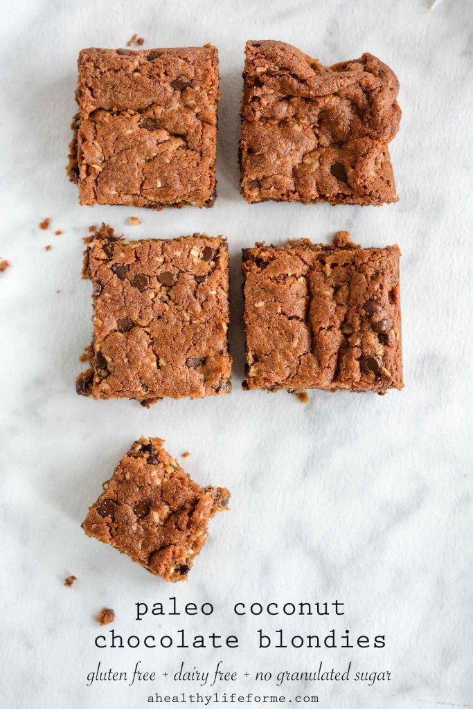 Paleo Coconut Chocolate Blondie Recipe gluten free dairy free delicious | ahealthylifeforme.com