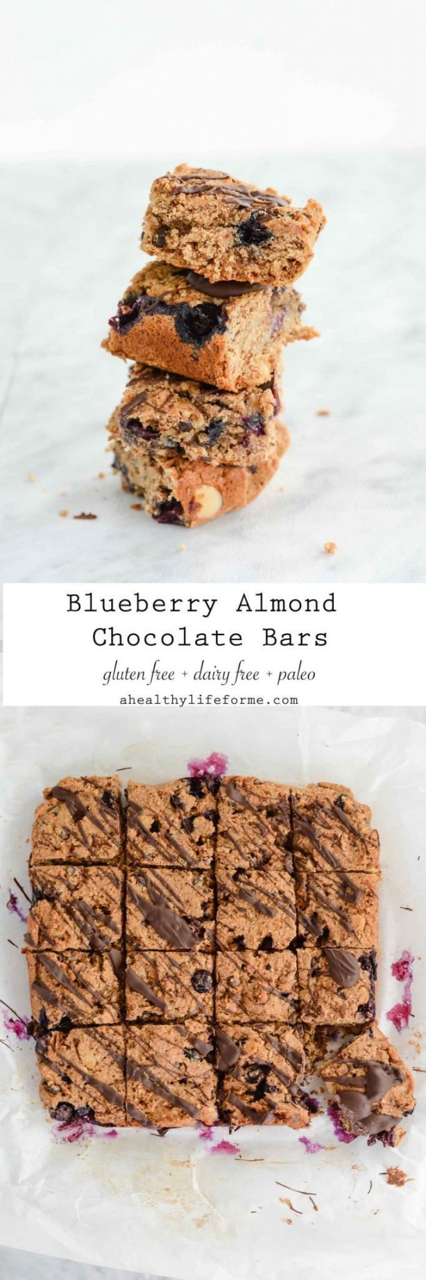 Blueberry Almond Chocolate Bars Gluten Free Dairy Free and Paleo Recipe | ahealthylifeforme.com