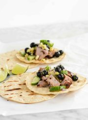 Blueberry Pork Corn Tacos Healthy Delicious Recipe loaded with grilled pork tenderloin fresh blueberries and organic corn | ahealthylifeforme.com