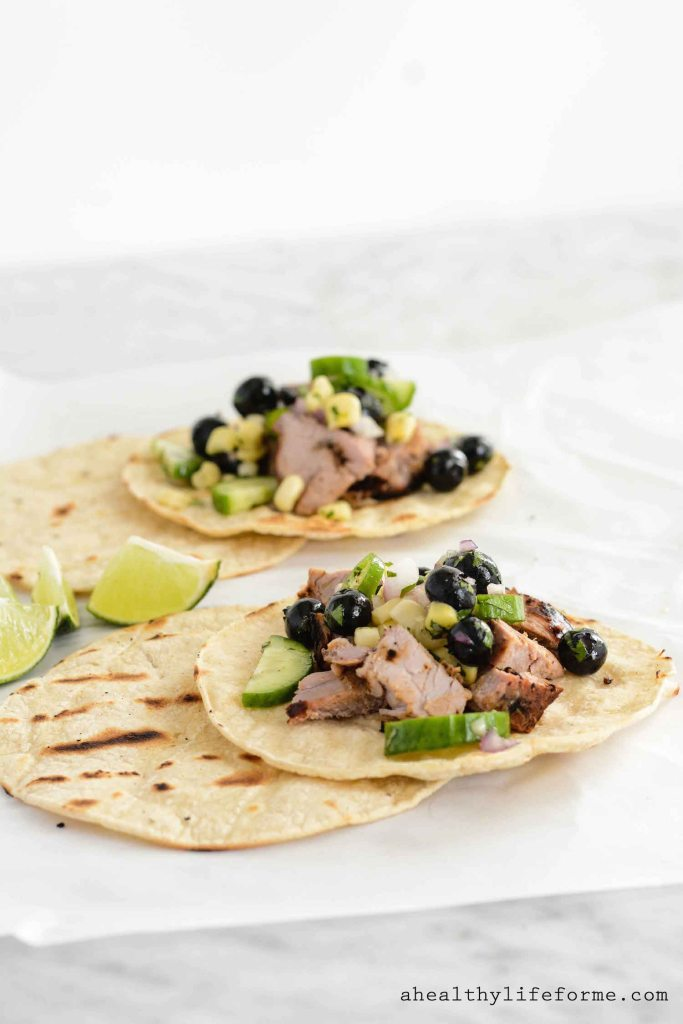 Blueberry Pork Corn Tacos Healthy Delicious Recipe loaded with grilled pork tenderloin fresh blueberries and organic corn   ahealthylifeforme.com