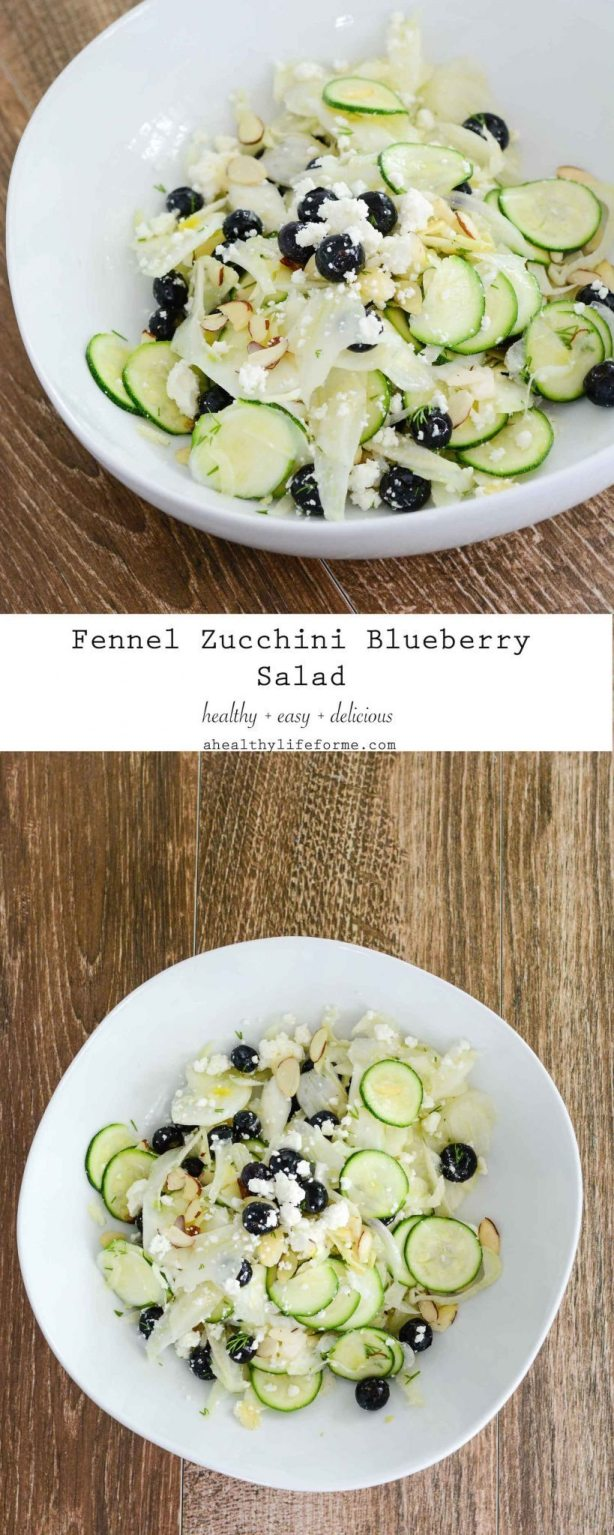 Shaved Fennel Zucchini Salad topped with Blueberries Feta Almonds and Lemon Vinaigrette   ahealthylifeforme.com