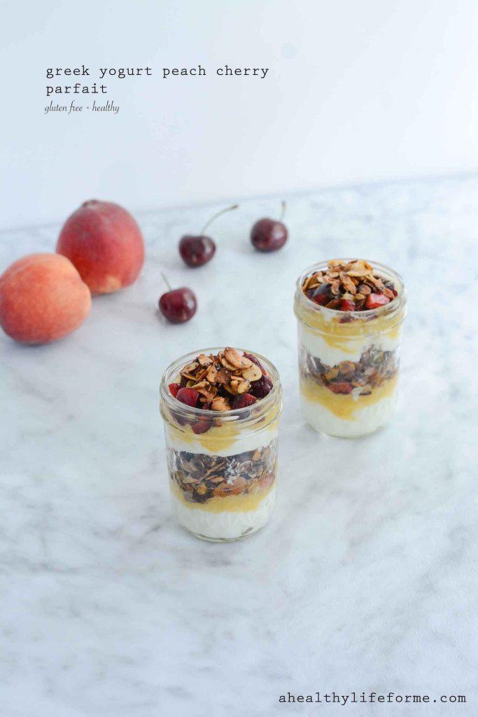 Greek Yogurt Peach Cherry Parfait a gluten free, healthy parfait recipe layered with fresh peach puree, cherries and homemade granola. | ahealthylifeforme.com