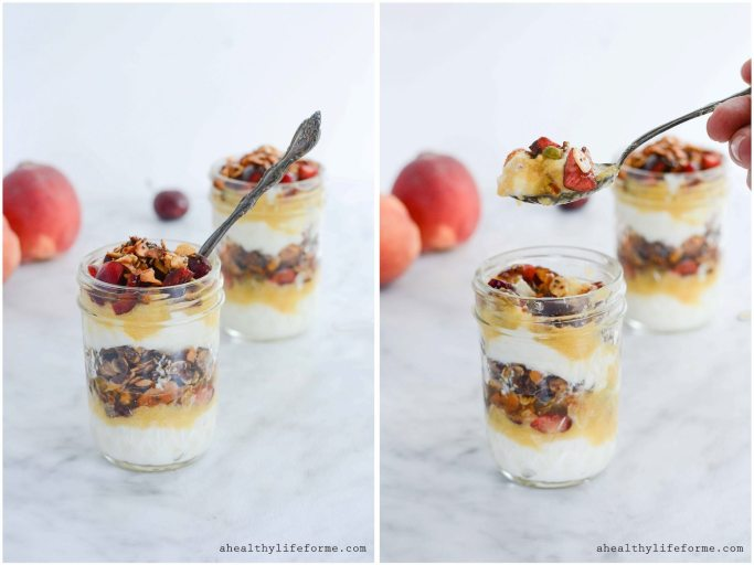 Greek Yogurt Peach Cherry Parfait a gluten free, healthy parfait recipe layered with fresh peach puree, cherries and homemade granola. | ahealthylifeforme.com