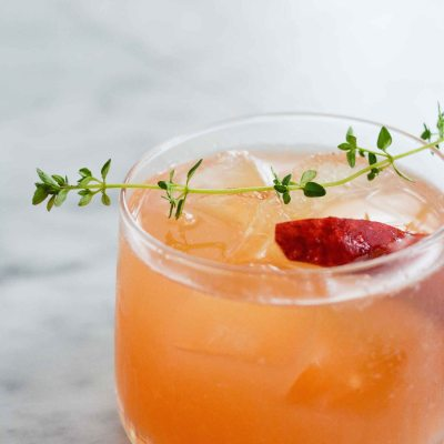 Peach Bourbon Thyme Smash