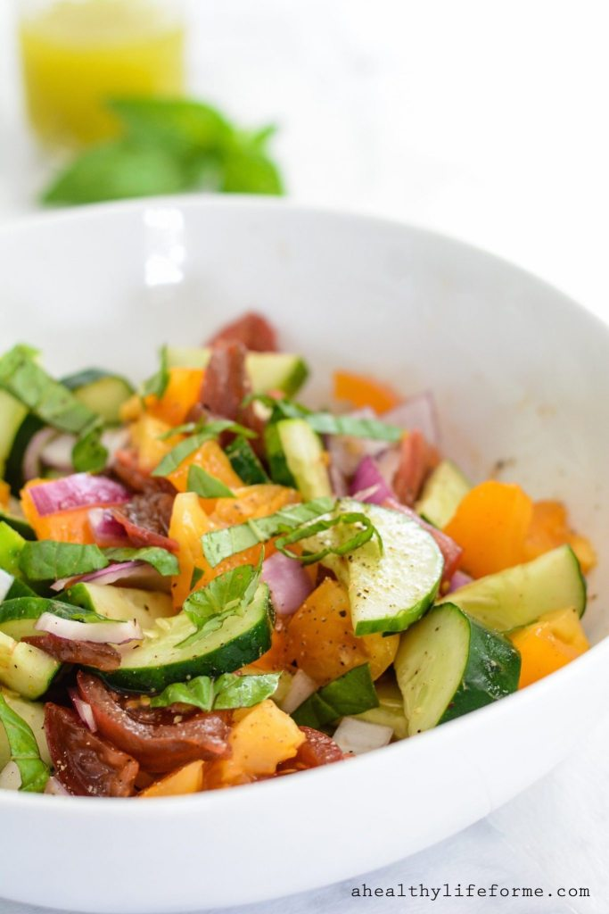 Tomato Cucumber Salad with Avocado Vinaigrette is a rainbow of fresh summer produce gluten free dairy free paleo | ahealthylifeforme.com