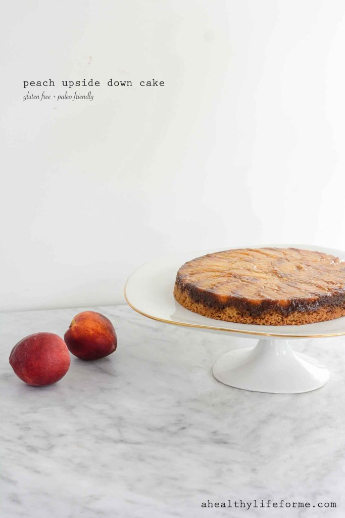 Peach Upside Down Cake is gluten free and paleo friendly moist delicious recipe | ahealthylifeforme.com