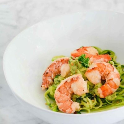 Zucchini Noodle Shrimp Scampi with Avocado Sauce