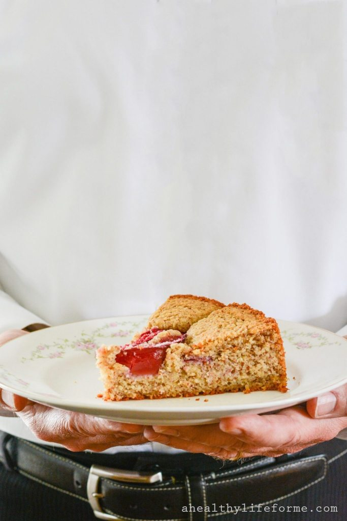 Plum Cake is a moist delicious cake packed full of fresh fruit. Gluten Free, Dairy Free, Paleo Friendly with zero granulated sugar this cake is a great way to enjoy the other summer stone fruit, plums. | ahealthylifeforme.com