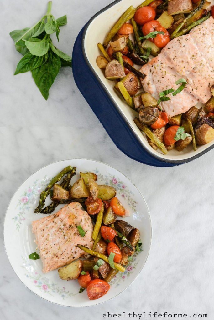 Roasted Salmon Potato Tomato and Asparagus is a one pan dinner that is easy, delicious and healthy. Gluten Free Dairy Free Nut Free Paleo Whole30 | ahealthylifeforme.com