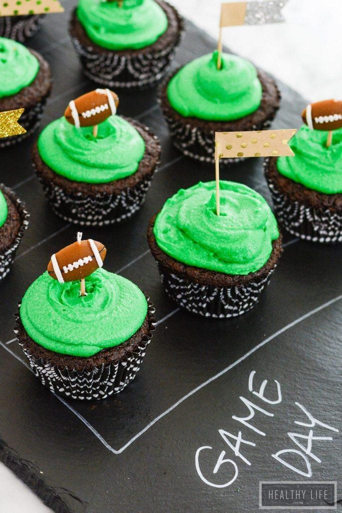 Chocolate Football Cupcakes are moist dense cakes gluten free dairy free recipe | ahealthylifeforme.com