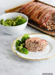 Easy Bison Bacon Meatloaf is the pefect family dinner recipe. Gluten free and loaded with flavor | ahealthylifeforme.com